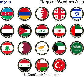 zászlók, közül, western, asia., zászlók, 8.