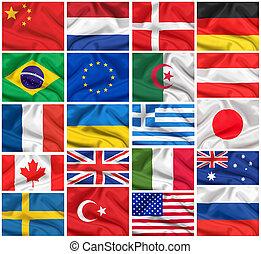 zászlók, set:, usa, nagy-britannia, olaszország, franciaország, brazília, németország, kultúrprogram-szervező tiszt