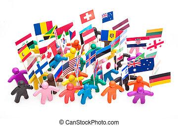 zászlók, színpompás, tolong, csoport, emberi, gyurma, ...