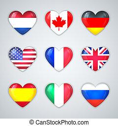 zászlók, szív, országok, pohár, ikon, set.