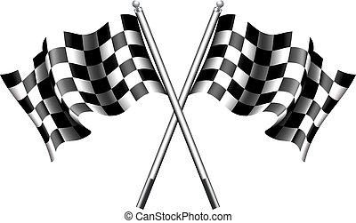 zászlók, versenyzés, motor, kockás