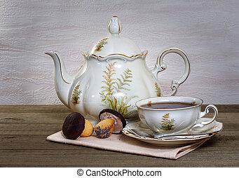 zátiší, s, čaj, a, koláček, do, ta, forma, o, jeden, houba