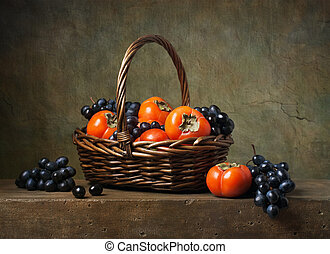 zátiší, s, persimmons, a, zrnko vína, do, jeden, koš