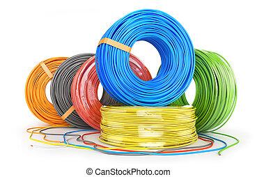 závit, 3, barva, grafické pozadí., kabel, ilustrace, neposkvrněný