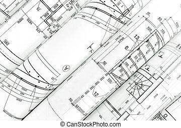 závitky, o, architektura, blueprints