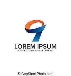 zählen 9, logo, design, begriff, schablone