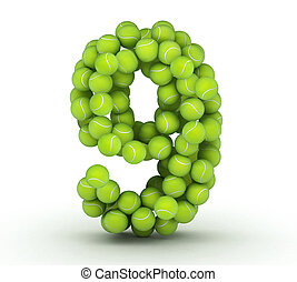 zählen 9, tenniskugeln, alphabet