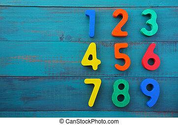 zählen, Eins, neun, Zahlen, lernen, Bestellung, vorschulisch