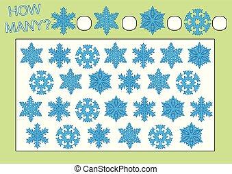 zählen, erzieherisch, illustration., snowflakes., viele, freizeit, wie, spiel, vektor, children., activity., vorschulisch