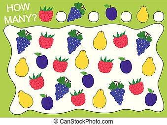 zählen, erzieherisch, pflaume, illustration., (raspberry, früchte, freizeit, wie, spiel, vektor, viele, children., quince)., trauben, activity., vorschulisch