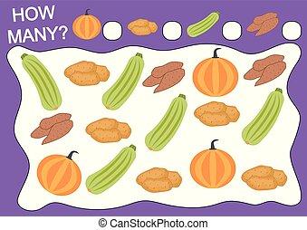 zählen, erzieherisch, vegetables., gegenstände, viele, freizeit, wie, spiel, vektor, children., activity., vorschulisch, illustration.