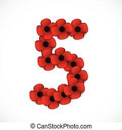 zählen fünf, in, mohnblumen