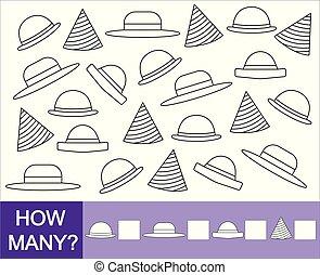 zählen, hats., wie, viele, hüte, farbe, spiel, children., mathematisch
