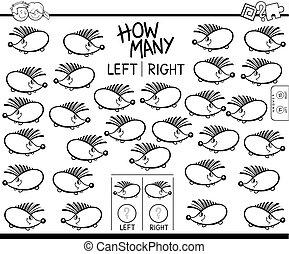 zählen, links, und, recht, bild, farbe, buch