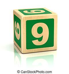 zählen neun, 9, hölzerne blöcke, schriftart