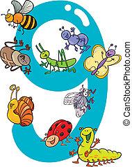 zählen neun, und, 9, insekten