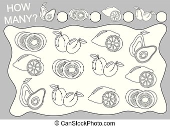 zählen, sie, illustration., farbe, viele, (coloring, book)., erzieherisch, wie, spiel, vektor, früchte, children., vorschulisch