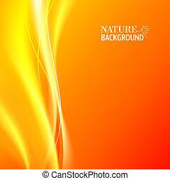 zärtlich, orange licht, abstrakt, hintergrund.