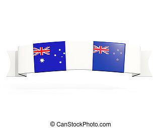 zélande, australie, deux, carrée, drapeaux, nouveau, bannière