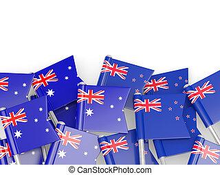 zélande, australie, isolé, drapeaux, nouveau, blanc