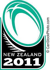 zélande, balle, rugby, fougère, nouveau, 2011