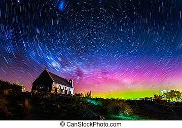 zélande, bon, traînées étoile, aurore, lac, lumière, église, nouveau, tekapo, berger