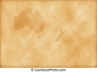 zélande, carte, australie, vieux nouveau