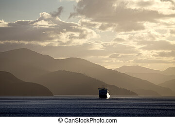 zélande, ferry-boat, vue, nouveau, picton