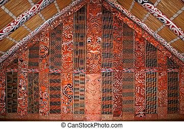 zélande, maori, auckland, intérieur, maison, nouveau, réunion