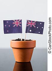 zélande, nouveau, australie, drapeaux