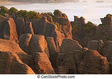 zélande, nouveau, canyon, pan cake, rocher