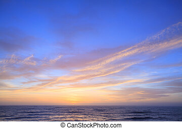 zélande, nouveau, coucher soleil, côte