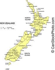 zélande, nouveau, districts, administratif