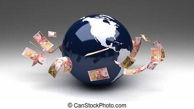 zélande, nouveau, dollars, affaires globales