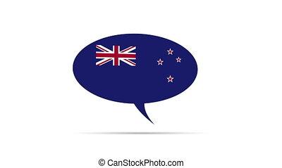 zélande, nouveau, drapeau, bulle discours