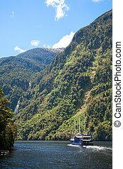 zélande, nouveau, fiordland, croisière bateau