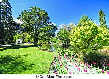 zélande, nouveau, jardins, queenstown