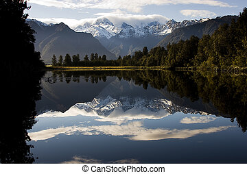 zélande, nouveau, -, lac, miroir