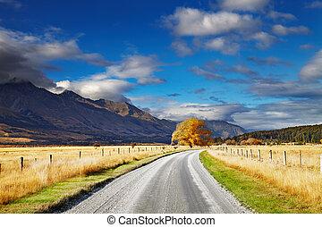zélande, nouveau, paysage, ile sud