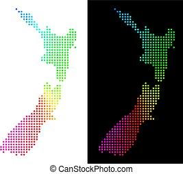 zélande, nouveau, pixelated, spectre, carte