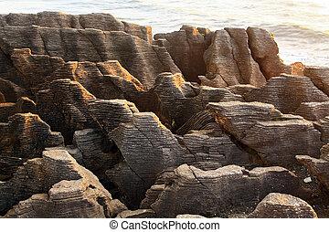 zélande, ouest, grandiose, côte, canyon, pan cake, rocher, nouveau, plage, paysage