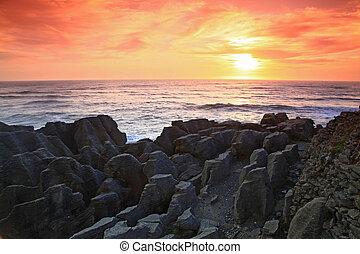 zélande, ouest, rocher, côte, canyon, coucher soleil, pan cake, grandiose, nouveau, plage