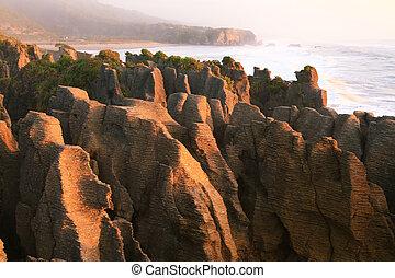 zélande, ouest, rocher, côte, canyon, pan cake, grandiose, nouveau, plage