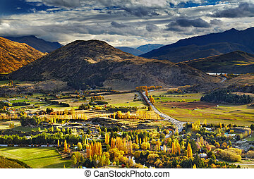 zélande, paysage montagne, nouveau