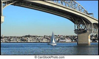 zélande, pont, port auckland, nouveau