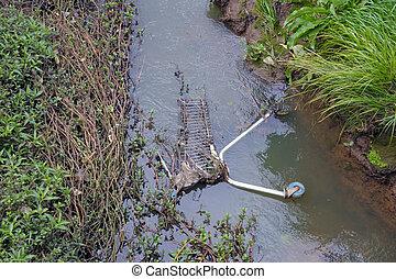 zélande, ruisseau, eau, nouveau, rivière, pollution