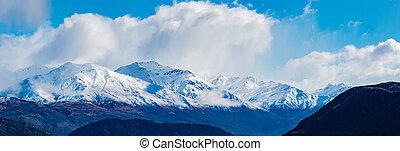 zélande, snowcaped, montagne, southland, lac, nouveau,...