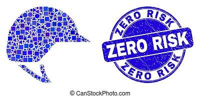 zéro, bleu, risque, motocyclette, détresse, casque, cachet, mosaïque