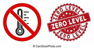 zéro, gratté, non, niveau, icône, cachet, température