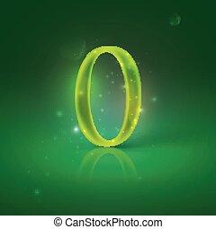 zéro, incandescent, nombre, vert, 0.